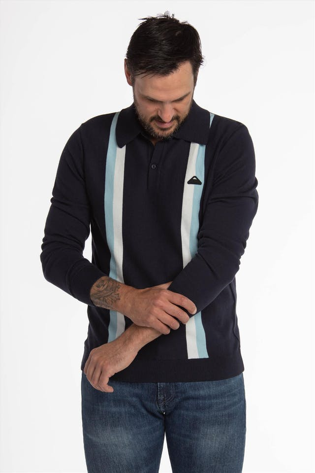 Donkerblauwe Stripes Polo trui